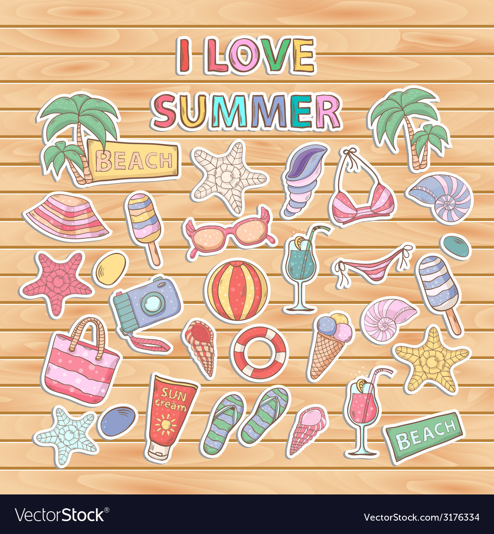 I love summer setscrapbook setsticker vector | Price: 1 Credit (USD $1)