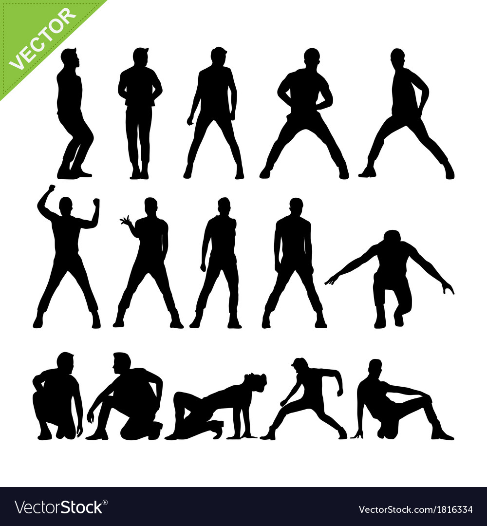 Men dancer silhouettes vector | Price: 1 Credit (USD $1)