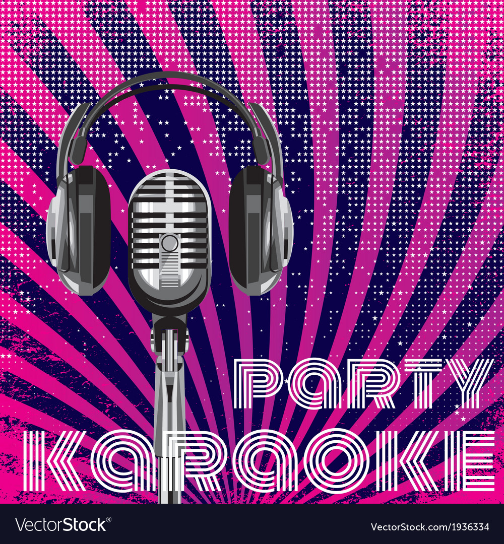 Microphone and headphones for karaoke party vector | Price: 1 Credit (USD $1)