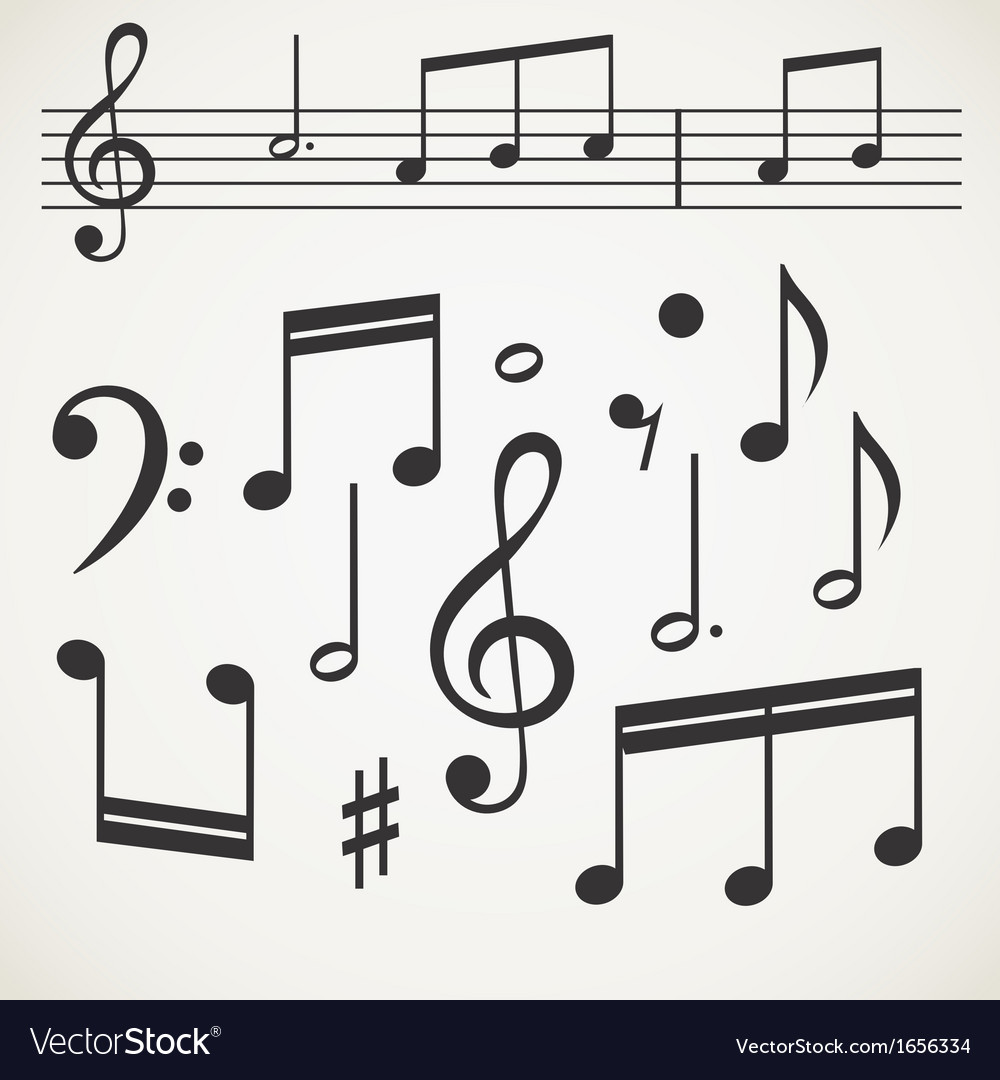 Music note collection on old paper vector | Price: 1 Credit (USD $1)