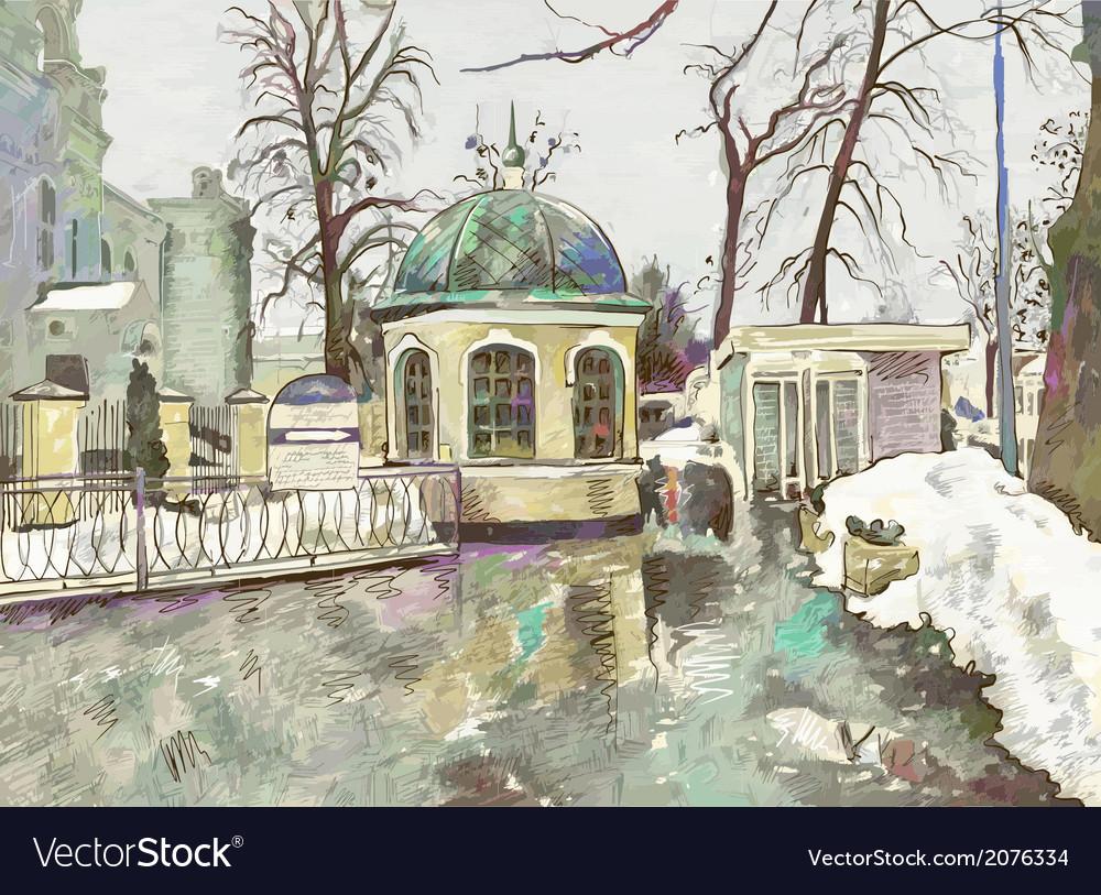 Original digital painting of winter cityscape vector | Price: 1 Credit (USD $1)
