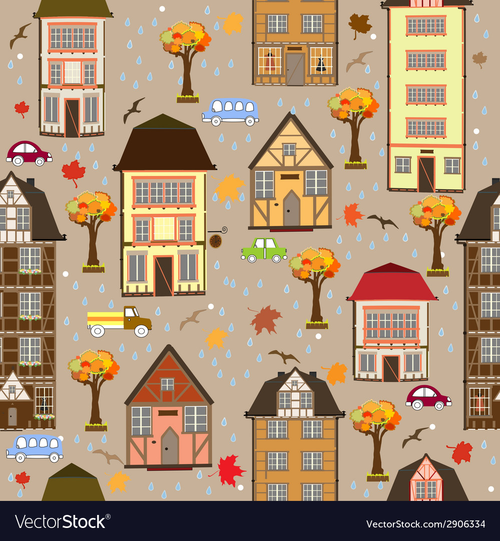 Seamless pattern with autumn city vector | Price: 1 Credit (USD $1)