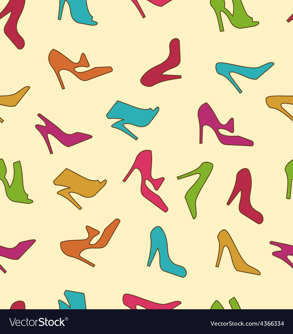 Seamless texture with colorful women footwear vector | Price: 1 Credit (USD $1)