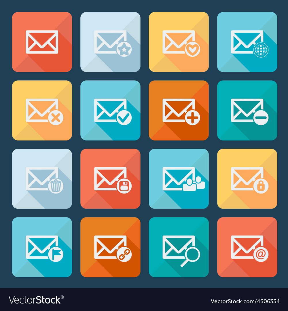 Set of sixteen mail icons for web vector | Price: 1 Credit (USD $1)