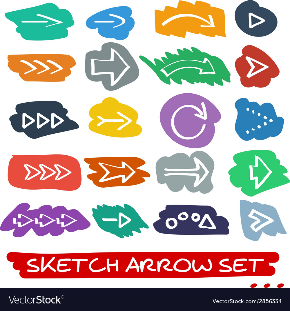 Sketch arrow set vector | Price: 1 Credit (USD $1)