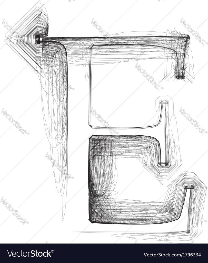 Sketch font letter e vector | Price: 1 Credit (USD $1)