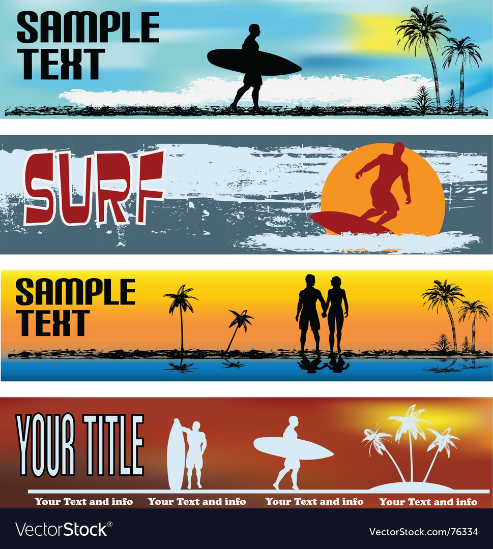 Tropical beach web banner templates vector | Price: 1 Credit (USD $1)
