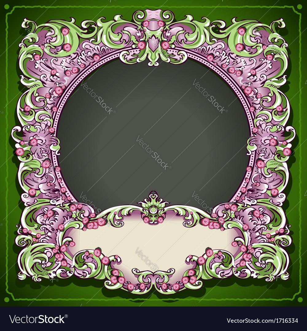 Vintage floral spring frame vector | Price: 1 Credit (USD $1)