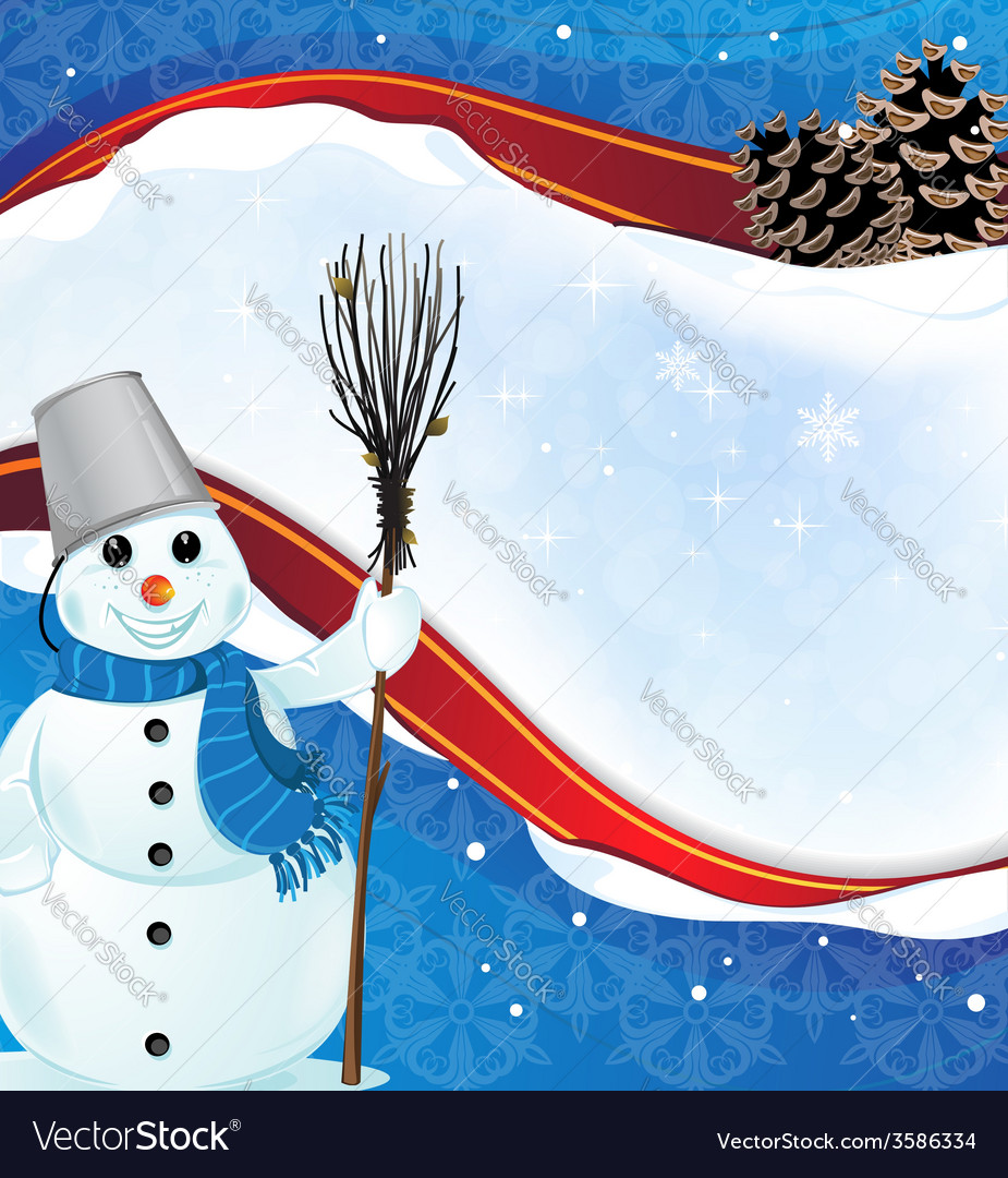 Winter background with a happy snowman vector | Price: 1 Credit (USD $1)