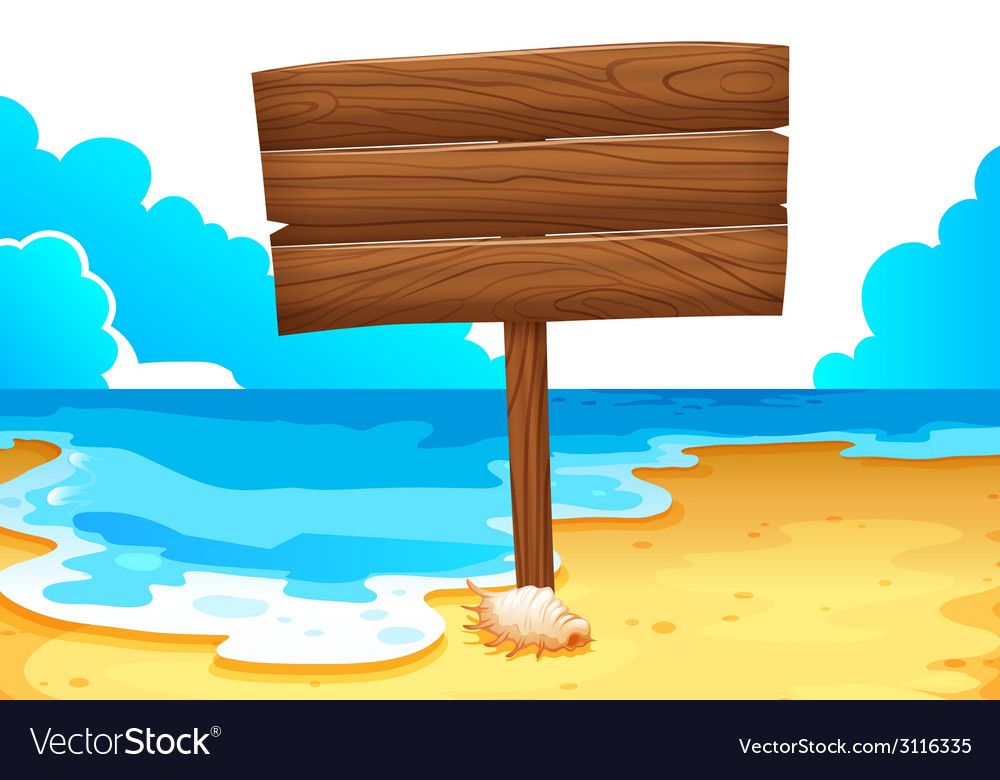 An empty wooden signboard at the sea vector | Price: 1 Credit (USD $1)