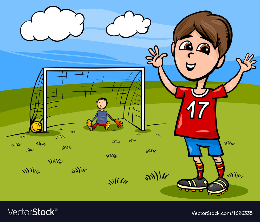 Boy playing soccer cartoon vector | Price: 1 Credit (USD $1)