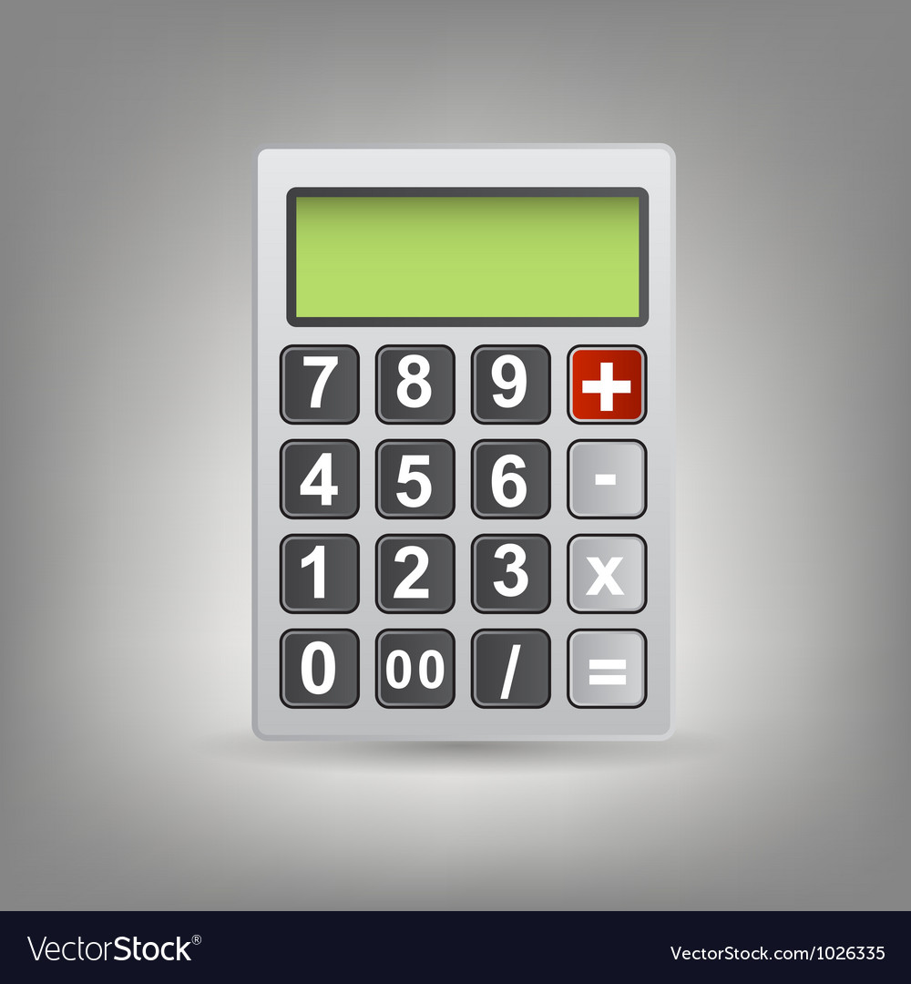 Calculator icon with gray buttons vector | Price: 1 Credit (USD $1)