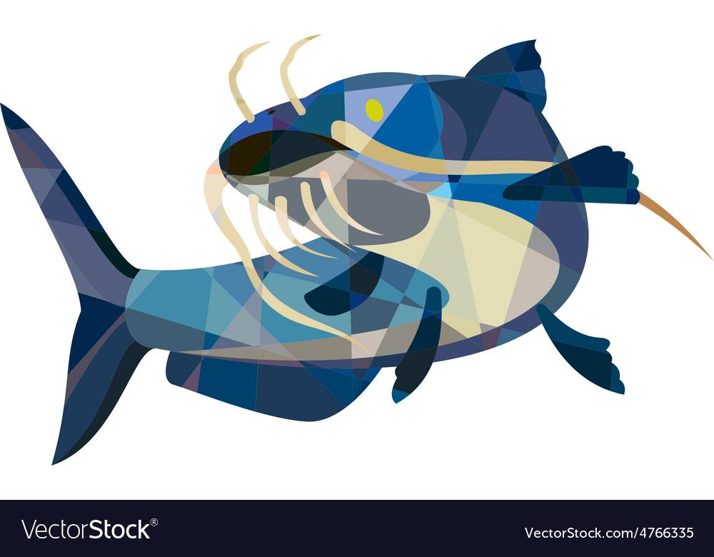 Catfish mud cat looking up low polygon vector | Price: 1 Credit (USD $1)