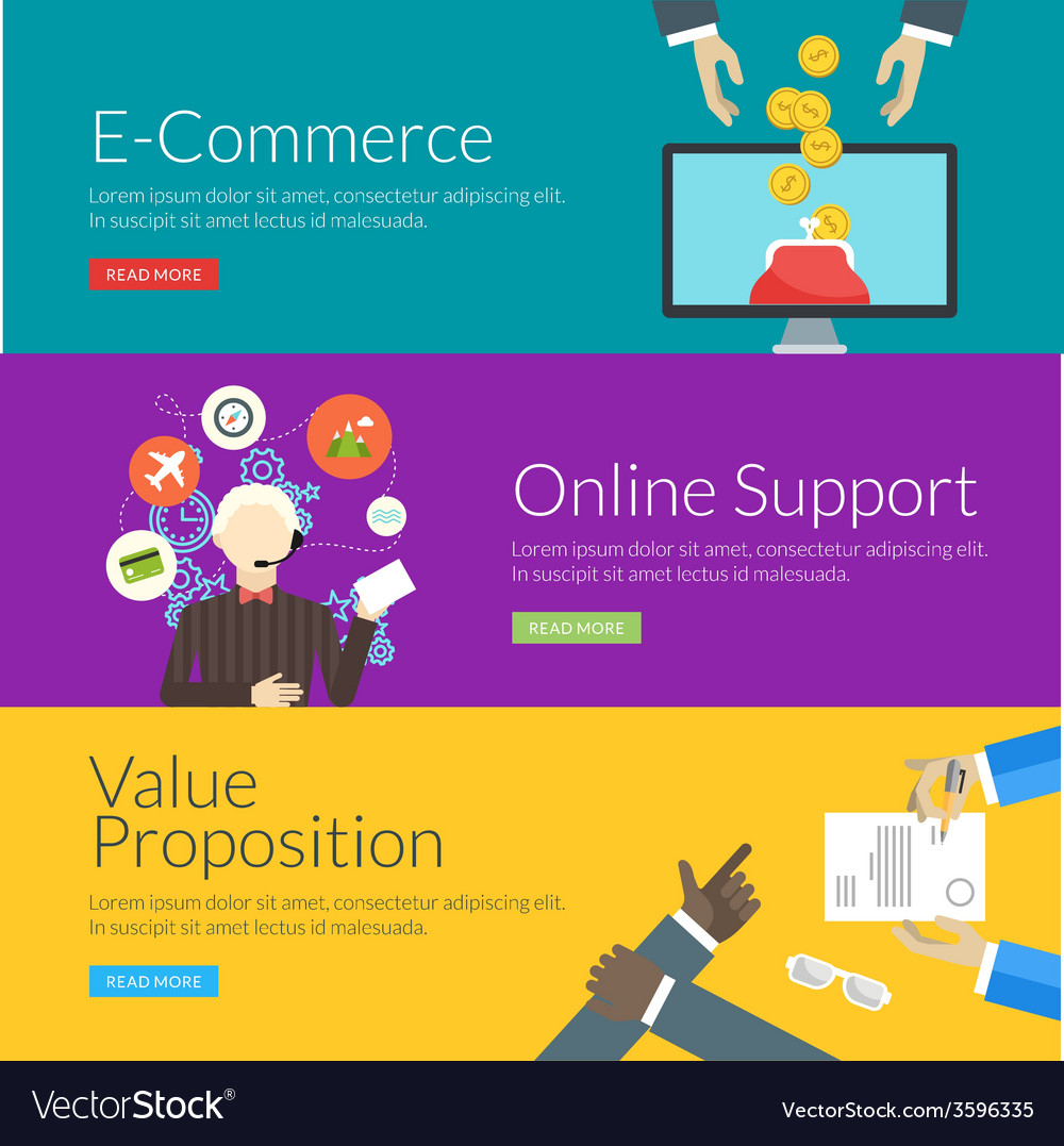 Flat design concept for e-commerce online support vector | Price: 1 Credit (USD $1)
