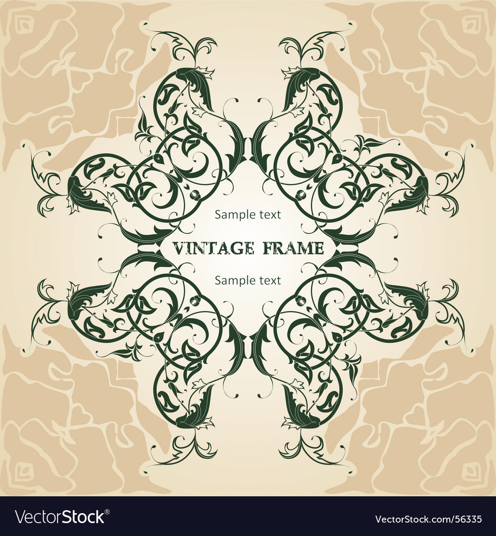 Floral frame vintage vector | Price: 1 Credit (USD $1)