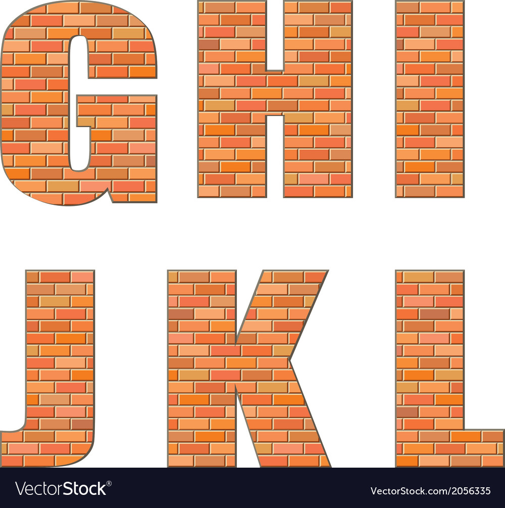 Font build out of red bricks vector | Price: 1 Credit (USD $1)