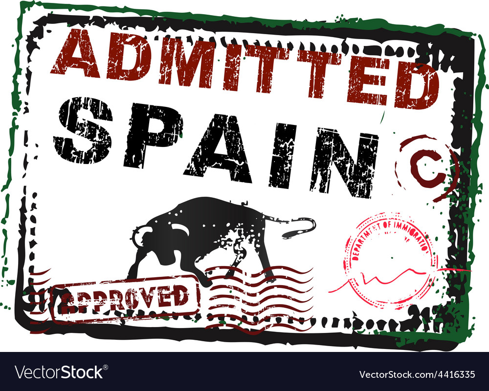 Immigration stamp spain vector
