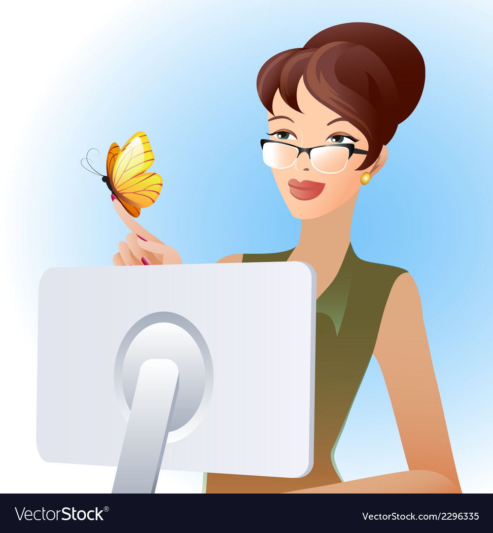 Secretary and butterfly vector | Price: 1 Credit (USD $1)