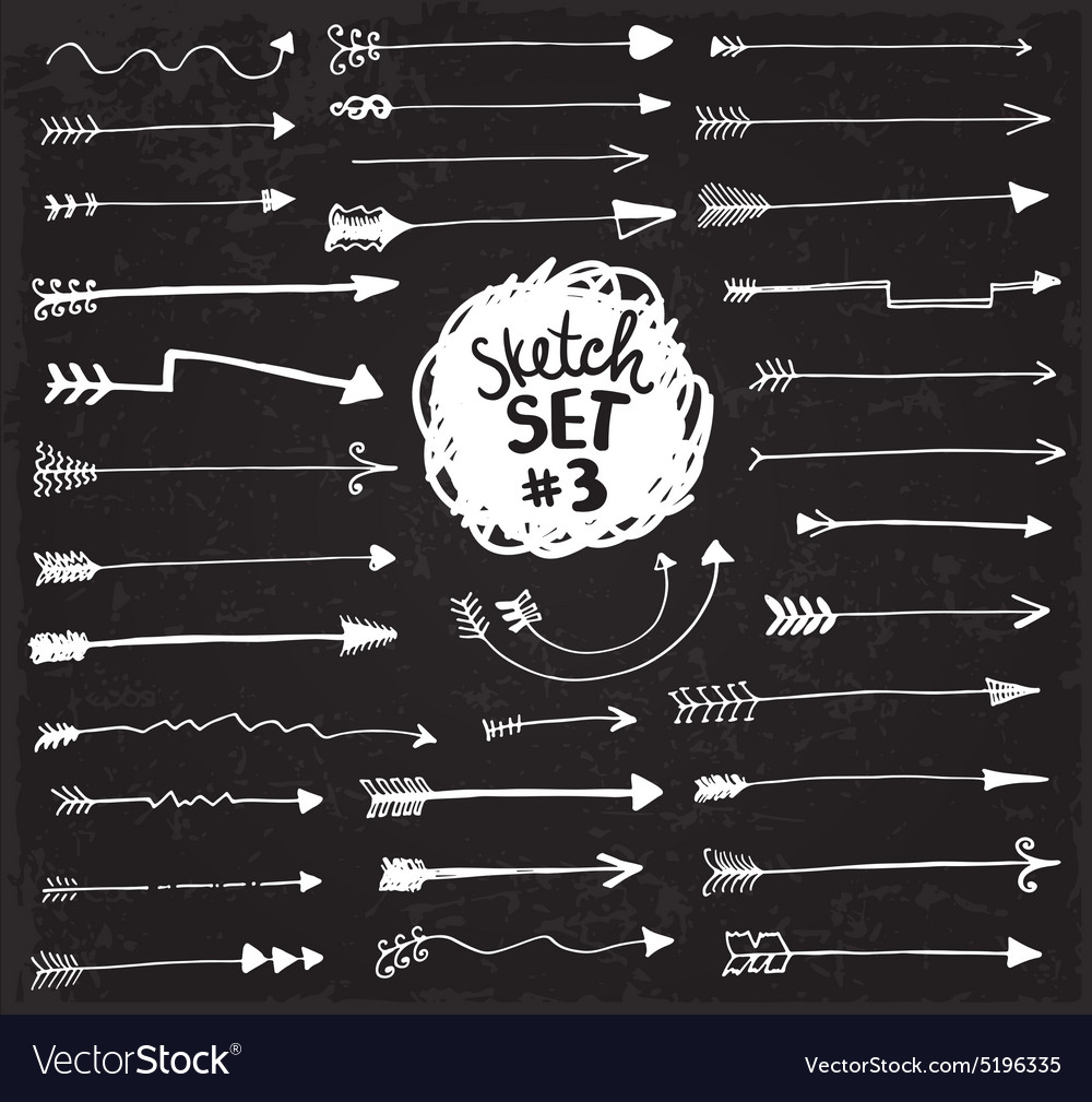 Sketch arrows set vector