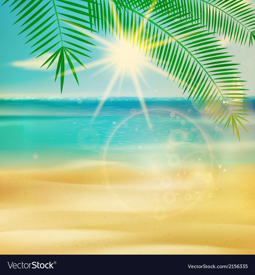 Summer beach in retro style vector | Price: 1 Credit (USD $1)