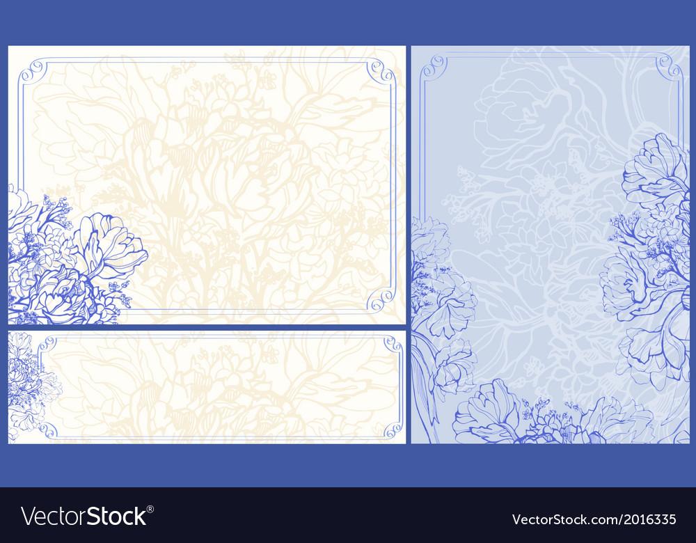 Three floral frames vector | Price: 1 Credit (USD $1)