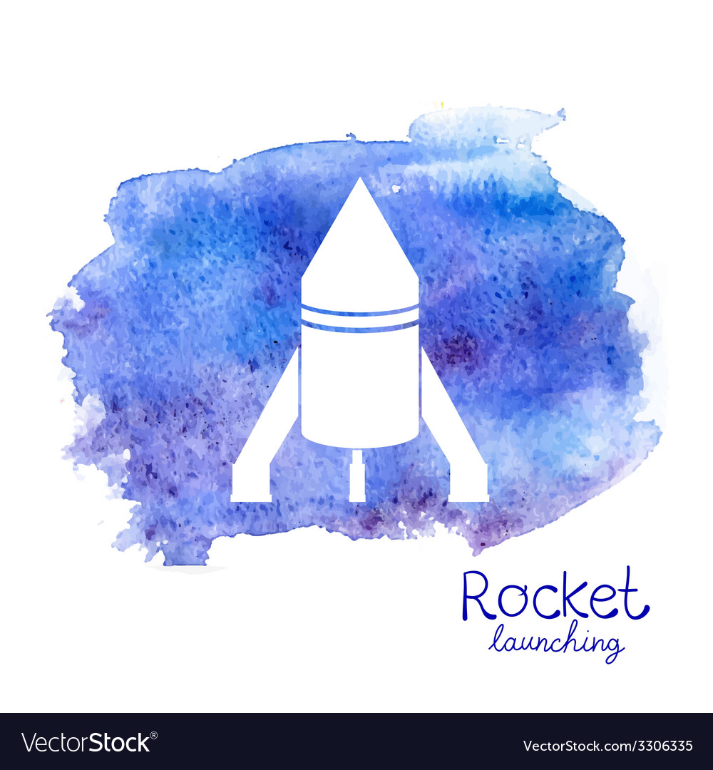 White rocket icon on watercolor background vector | Price: 1 Credit (USD $1)