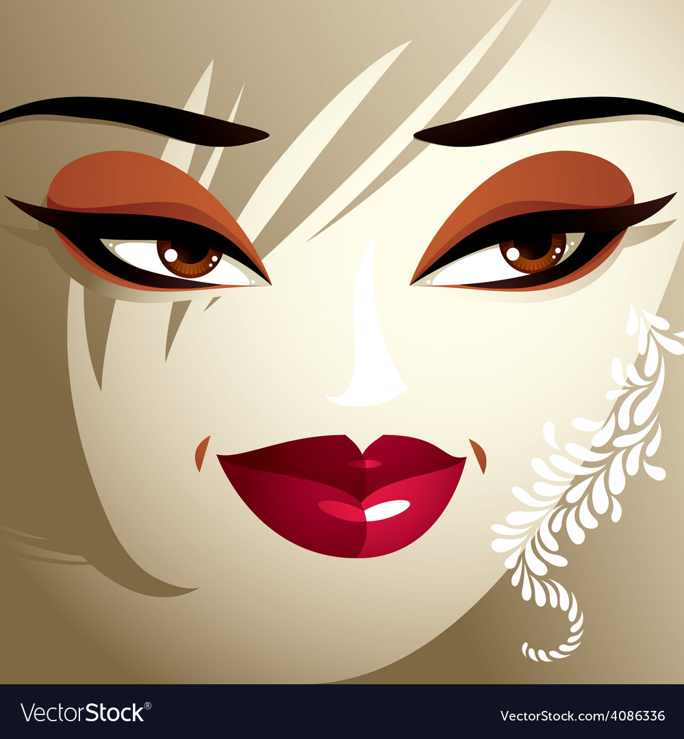 Attractive woman with stylish bright make-up and vector | Price: 1 Credit (USD $1)