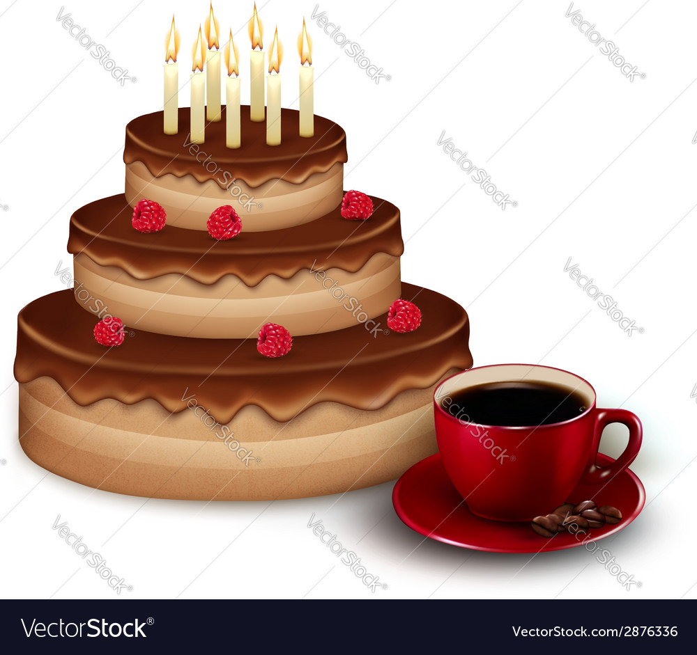Background with birthday chocolate cake and a cup vector | Price: 1 Credit (USD $1)