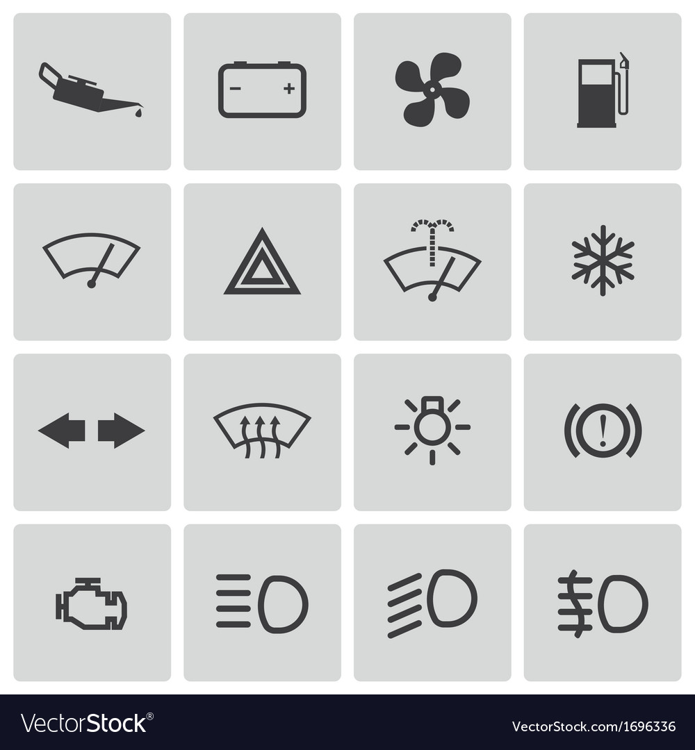 Balck car dashboard icons set vector | Price: 1 Credit (USD $1)