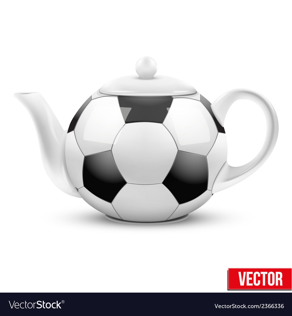 Ceramic teapot in soccer ball style football vector | Price: 1 Credit (USD $1)