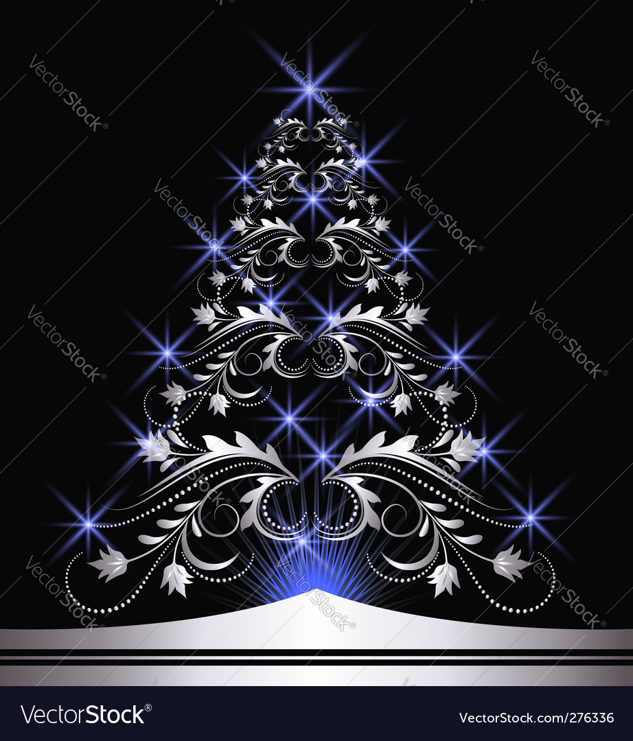 Christmas silver fur tree vector | Price: 1 Credit (USD $1)