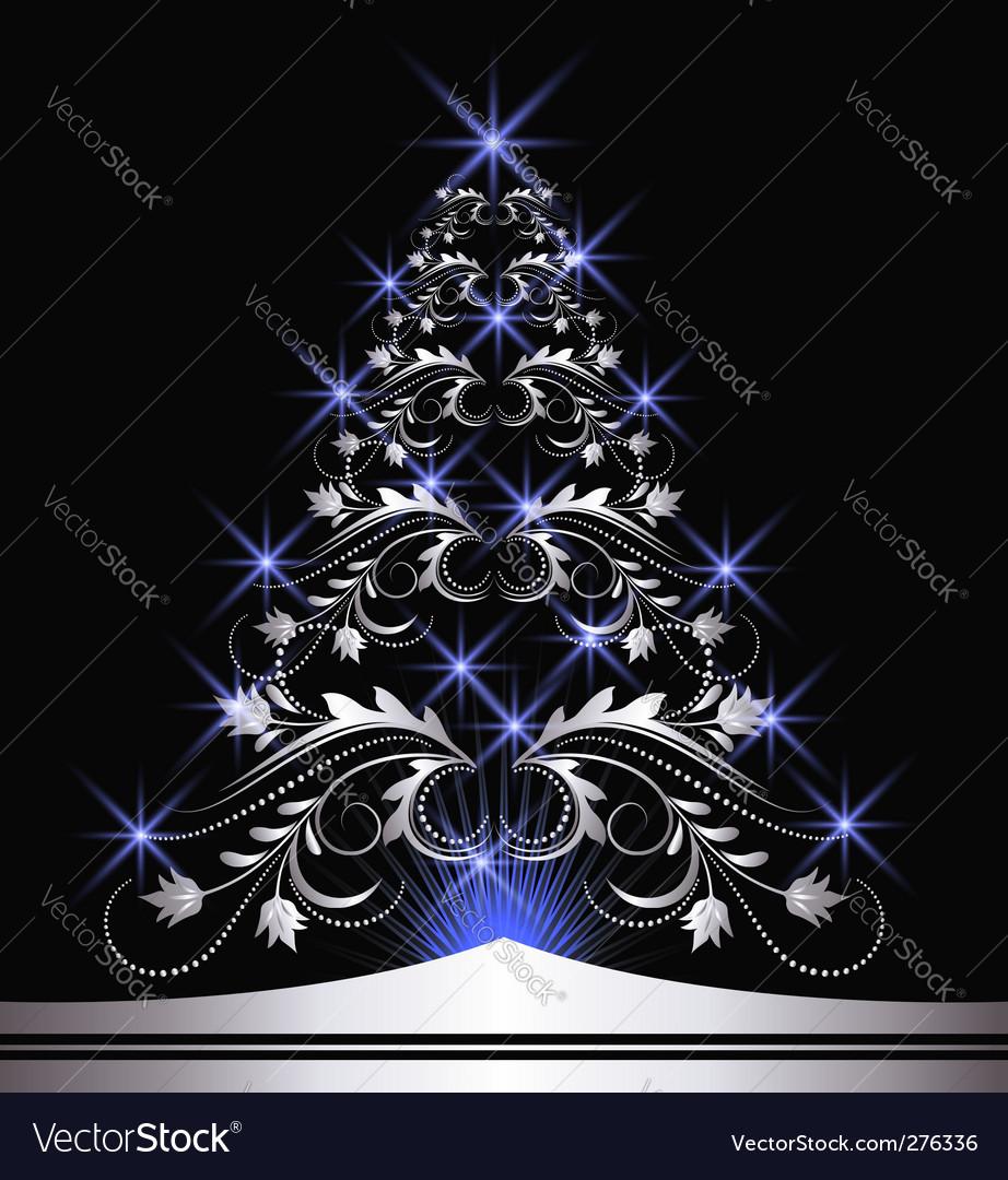Christmas silver fur tree vector | Price: 1 Credit (USD $1)
