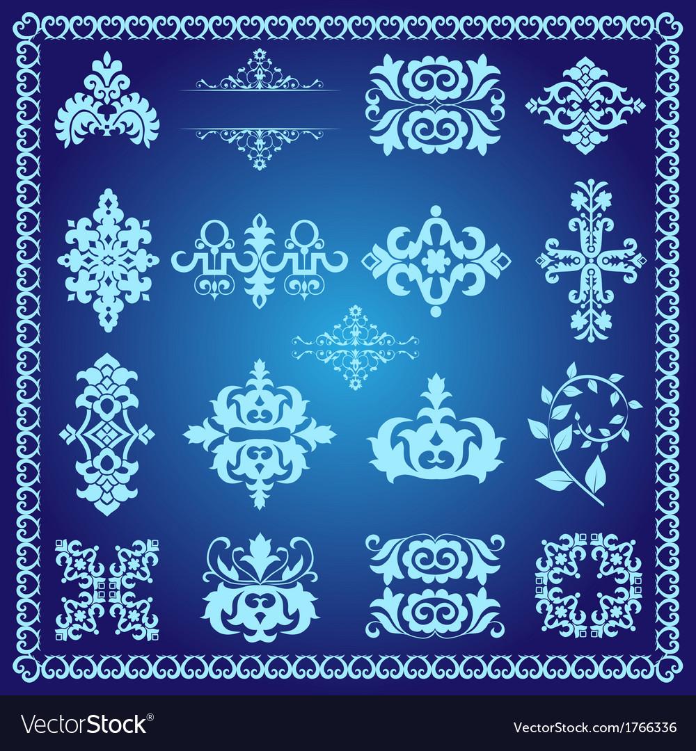Decorative design elements blue vector | Price: 1 Credit (USD $1)
