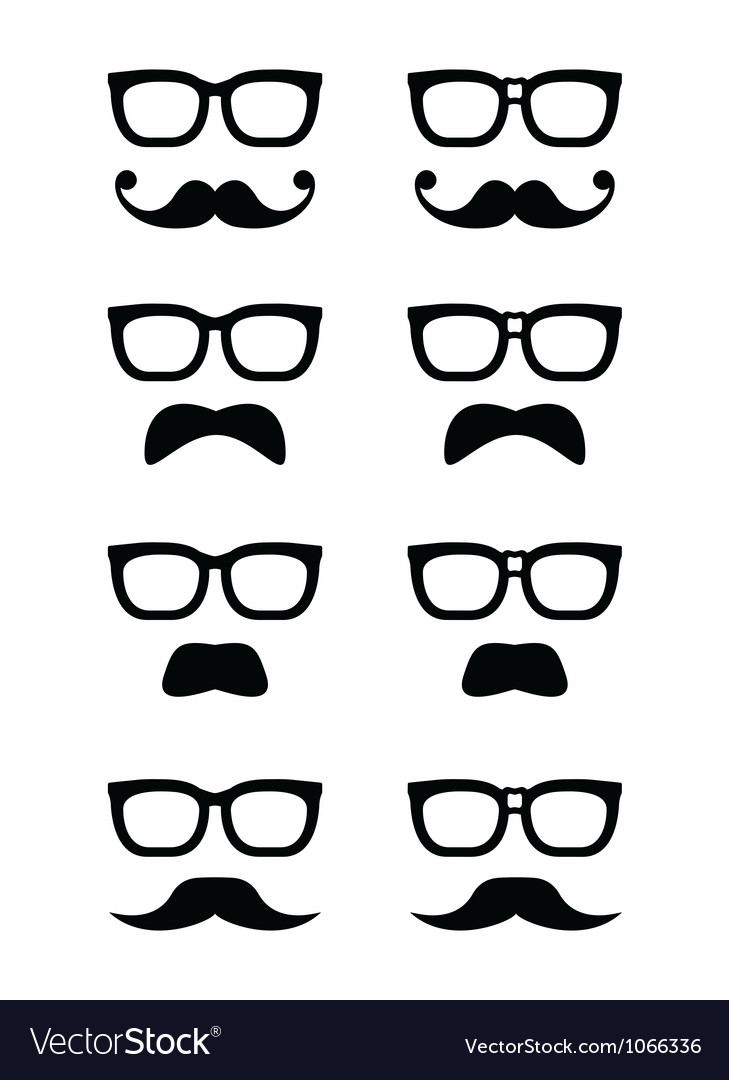 Geek glasses and moustache or mustache icon vector | Price: 1 Credit (USD $1)