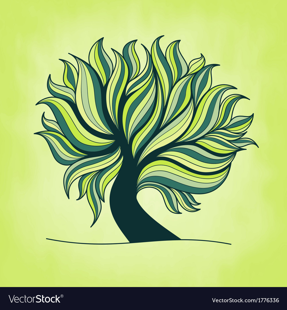 Green fresh colorful tree with branches and leaves vector | Price: 1 Credit (USD $1)