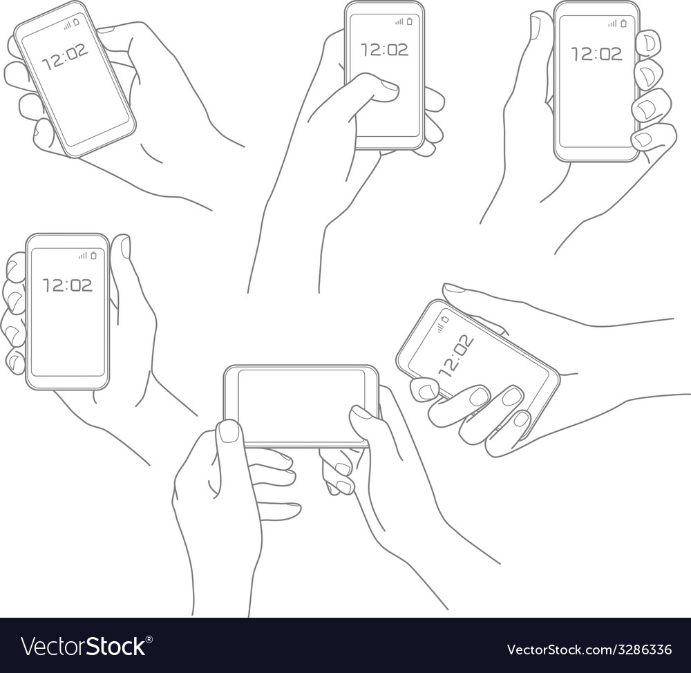Hand with phone set vector | Price: 1 Credit (USD $1)