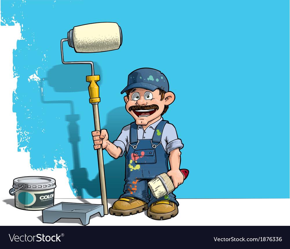 Handyman wall painter blue uniform vector | Price: 3 Credit (USD $3)