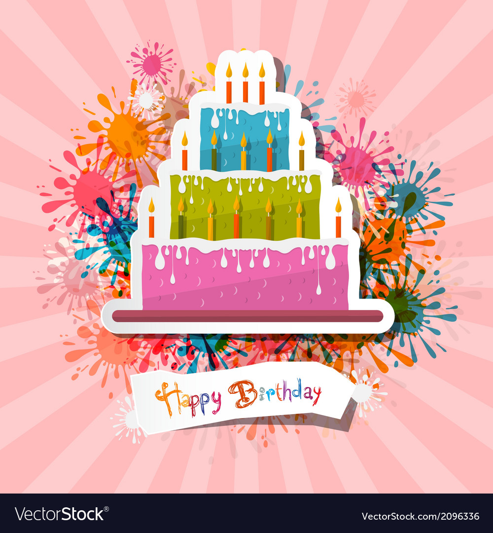 Retro pink birthday background with cake vector | Price: 1 Credit (USD $1)