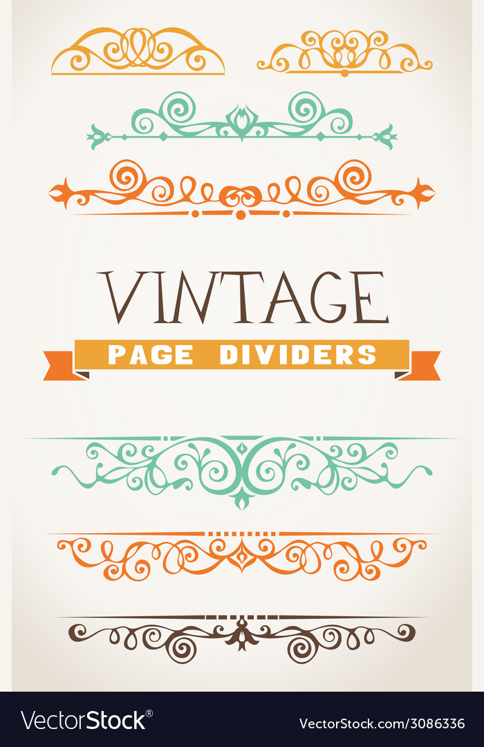 Set of vintage page dividers for your design vector | Price: 1 Credit (USD $1)
