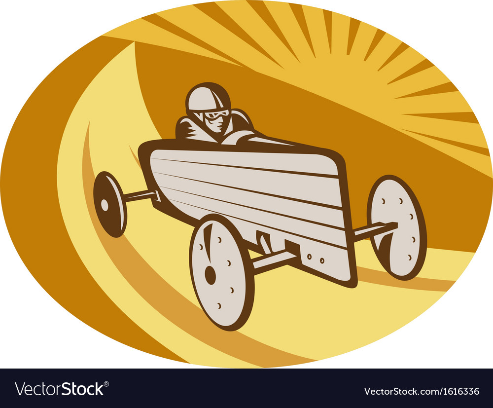 Soap box derby car racing with sunburst vector | Price: 1 Credit (USD $1)