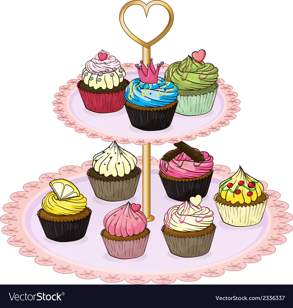 A cupcake tray with cupcakes vector | Price: 1 Credit (USD $1)