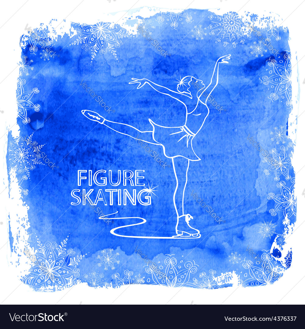 Figure skater girl on a watercolor background vector | Price: 1 Credit (USD $1)
