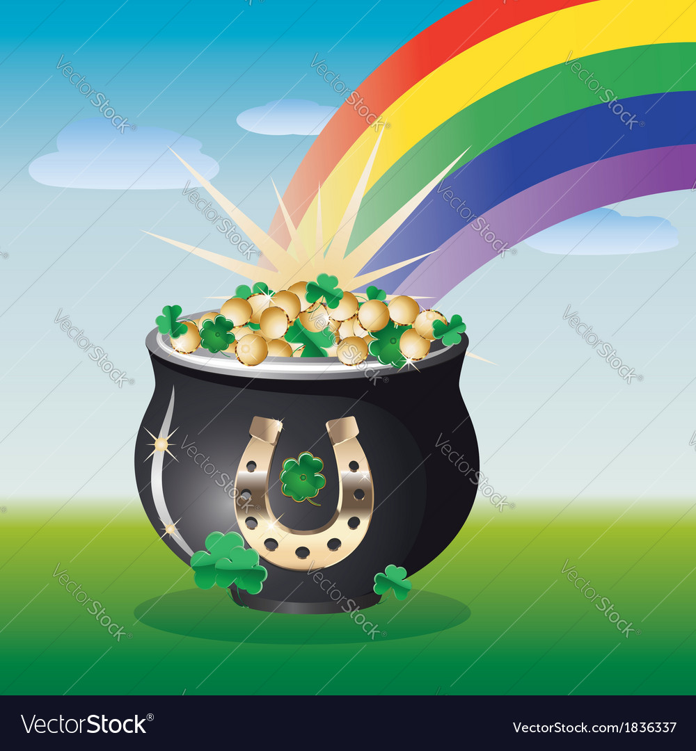 Landscape with pot of gold vector | Price: 1 Credit (USD $1)