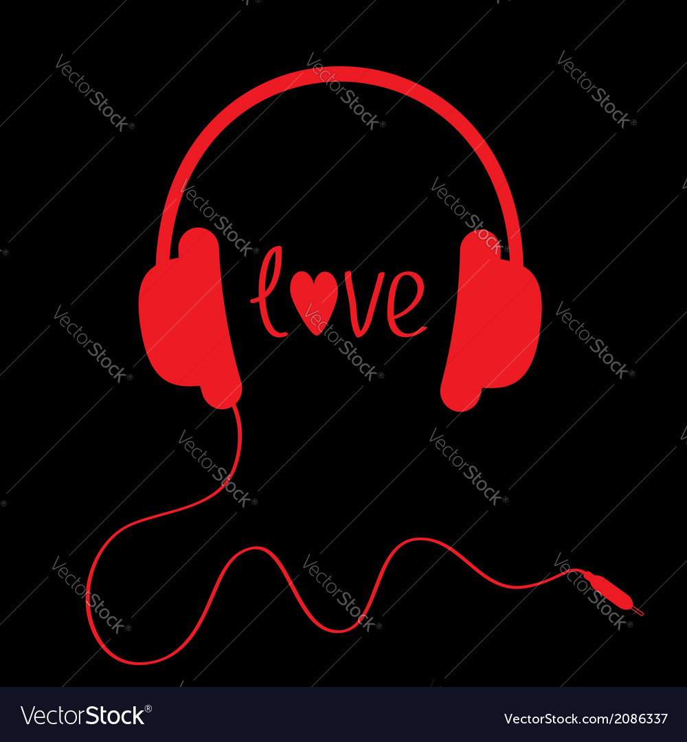 Red headphones with cord on black background vector | Price: 1 Credit (USD $1)