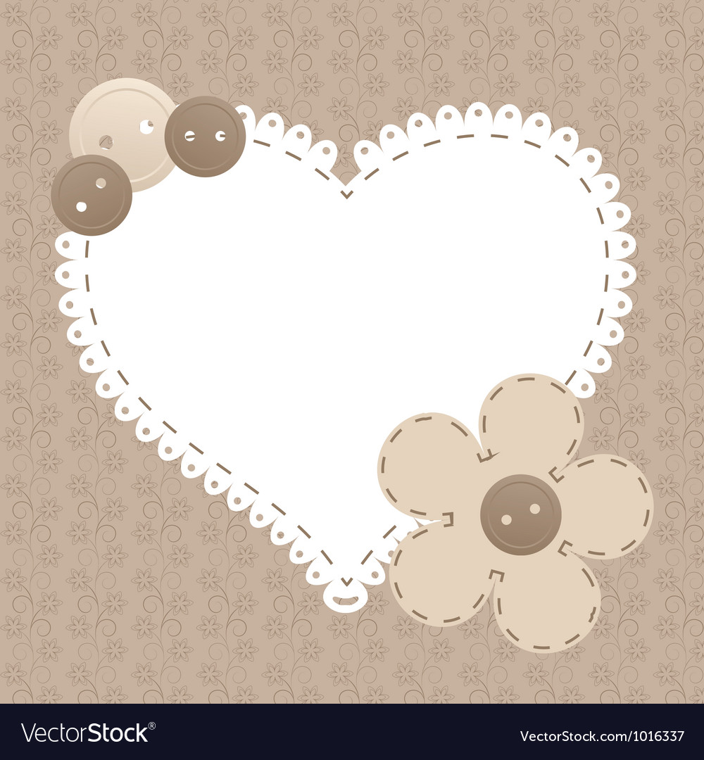 Vintage frame with love heart beautiful can vector | Price: 1 Credit (USD $1)