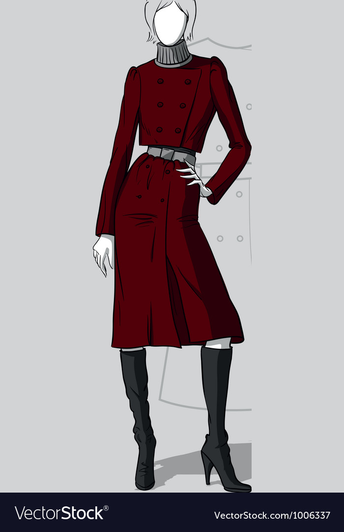 Woman in long maroon coat vector | Price: 3 Credit (USD $3)