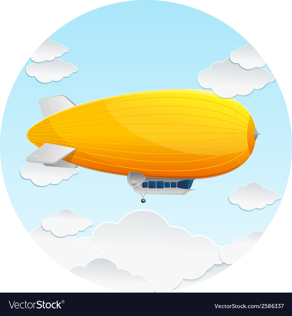 Yellow dirigible balloon and clouds vector | Price: 1 Credit (USD $1)