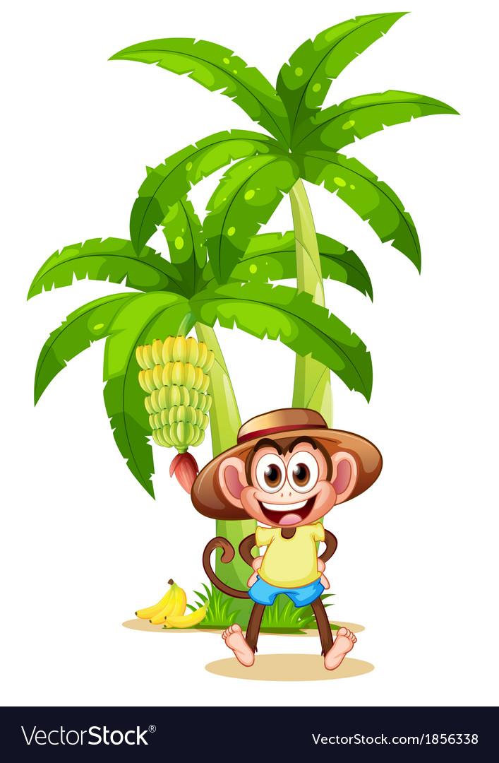 A very happy monkey near the banana plant vector