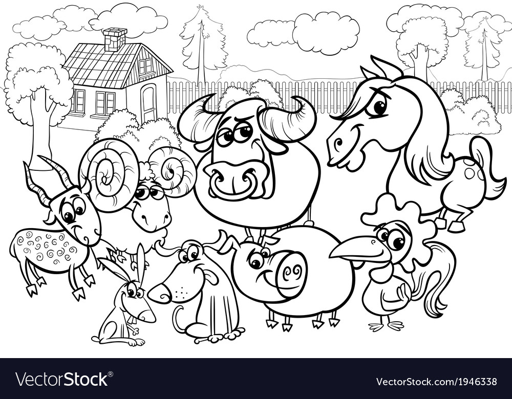Animals country group bw m vector | Price: 1 Credit (USD $1)