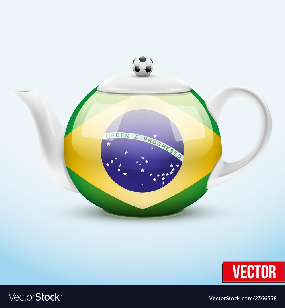Ceramic teapot in brazil soccer style football vector | Price: 1 Credit (USD $1)
